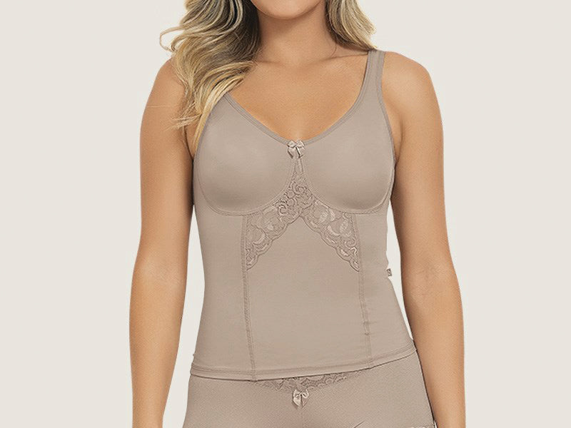 a354d93ef Model 6000E - Elegant Seamless Slimming And Toning Camisette w Delicate  Lace Inlay
