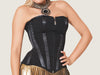Model 7705 - Extravagant Jade Black Tulle & Satin Trimmed Steel Boned Corset