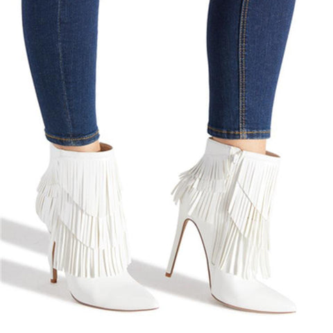 Women's stiletto pointed tassel ankle boots
