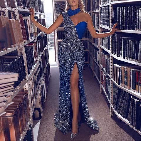 Sexy Irregular Patchwork Sequined Split Evening Dress