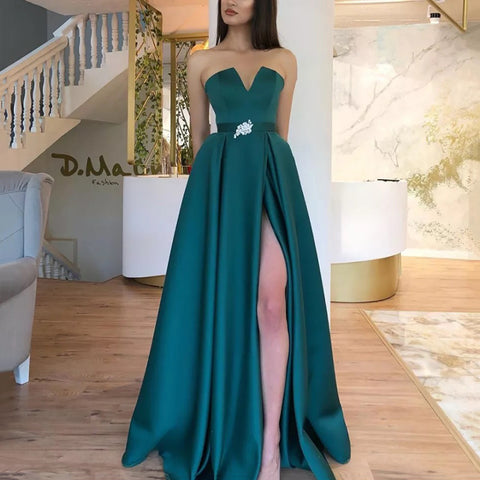 Women's Elegant High-waist Tube top Sleeveless Slit Evening Dress