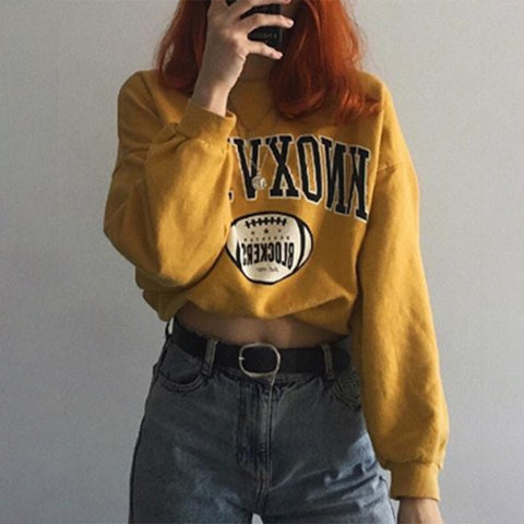 Fashion Casual Yellow Letters Printed Sweatshirt