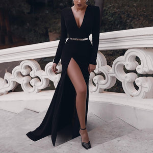 Stylish Solid Color Deep V Slim Slit Dress