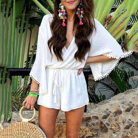 Fashion V Neck Flare Long Sleeve Casual Short Jumpsuit