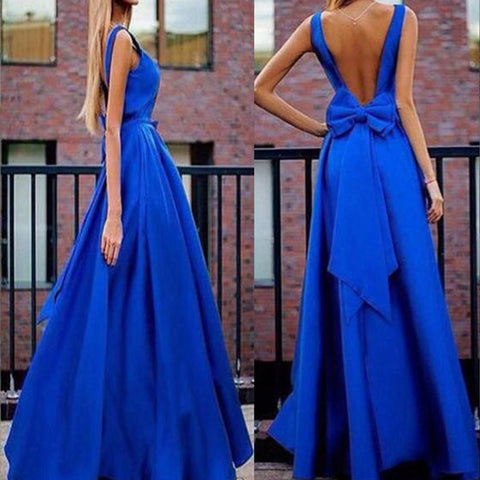 Backless Bowknot Evening Dresses