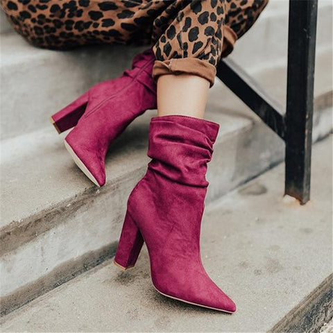 Women's fashion solid color pointed high heel boots