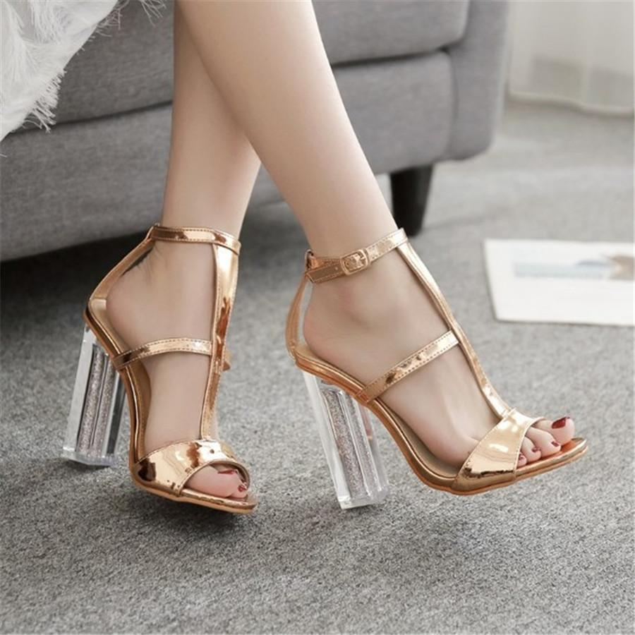 Crystal and gold lacquered high heel sandals