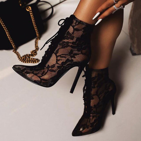 Sexy Women Pointed High Heel Mesh Boots