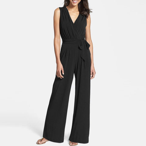 Sexy V-Neck Pure Color Sleeveless Jumpsuit