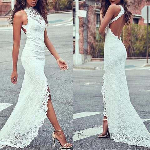 Sexy White Sleeveless Backless Evening Dress