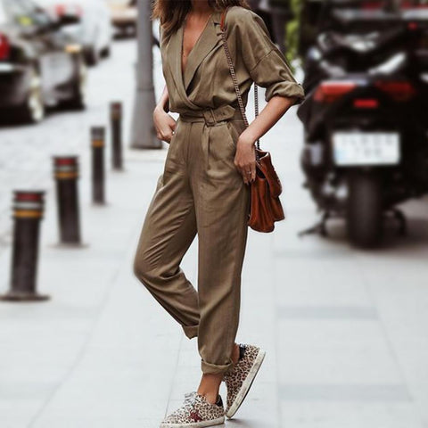 Army Green Stylish V - Collared Early Autumn Jumpsuit