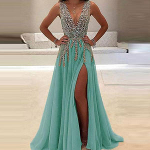 Sexy Chiffon Sleeveless Sequined  Deep V Evening Dress