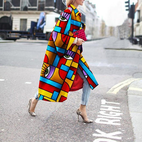Fashion Geometric Color Printed Coat