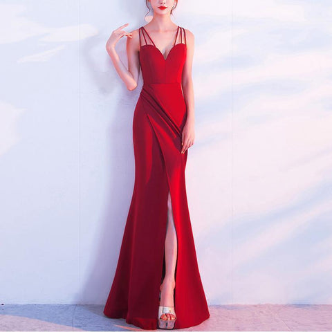 Sexy Slit Sllim Pure Colour Sleeveless Fishtail Evening Dress