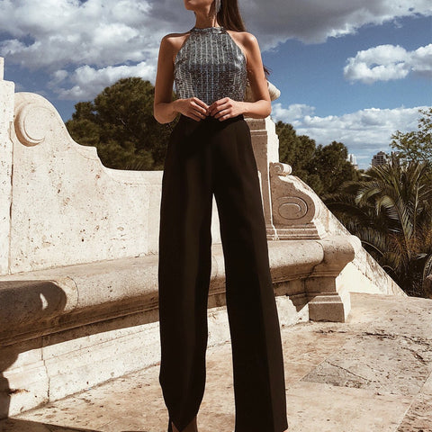 Sexy Halter Neck Patchwork Jumpsuit