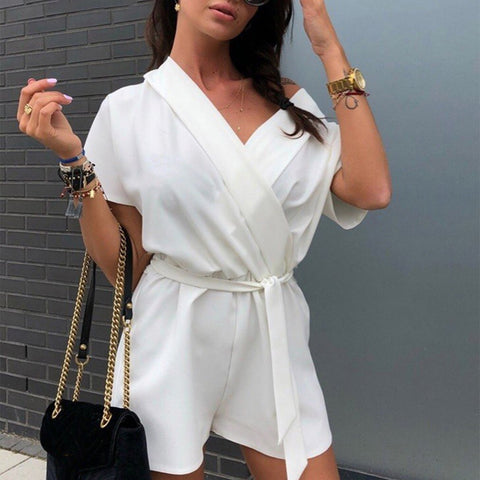 Sexy V Neck Wrap Short Sleeve Belt Jumpsuits