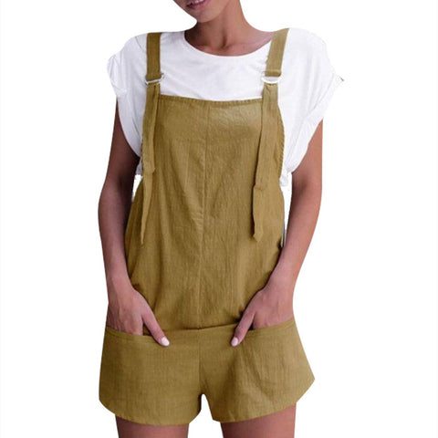 Fashion Pockets Shorts Overall Rompers