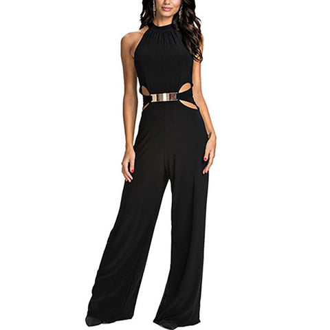 Fashion High Collar Sling Splicing Pure Colour Jumpsuits