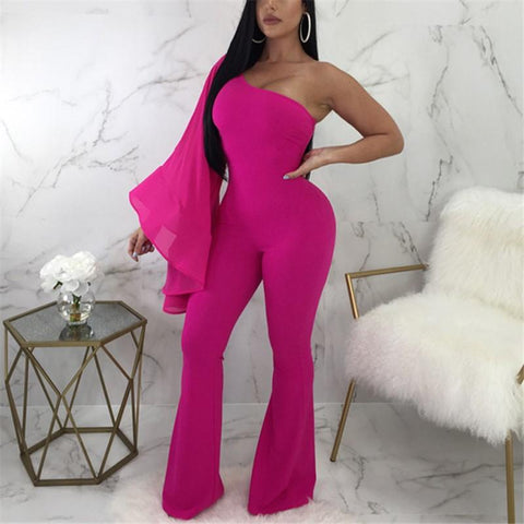 Casual Sexy Off Shoulder Loose Wide Leg Jumpsuit