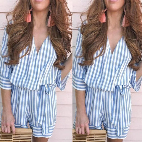 Summer V Neck Wrap Striped Tie Waist Romper