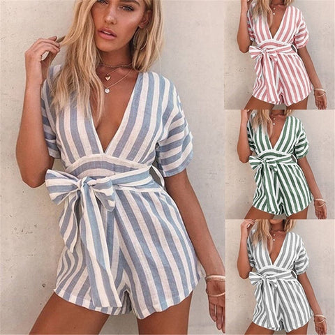 Fashion Deep V Collar Striped Strappy Loose Rompers