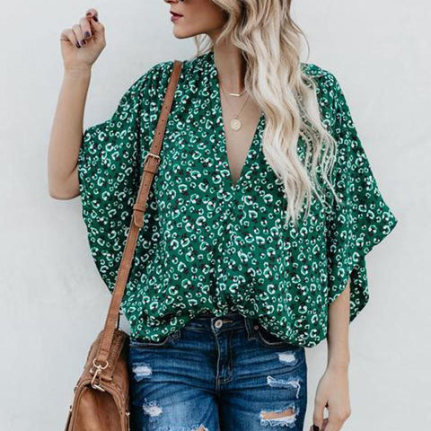 Summer Floral Printed Loose Bat Wing Sleeve Top