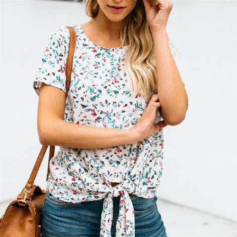 Fashion Round Collar Floral Printed Strappy Blouse
