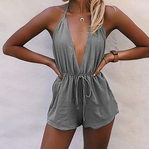Sexy Deep V Pure Colour Halter Jumpsuits