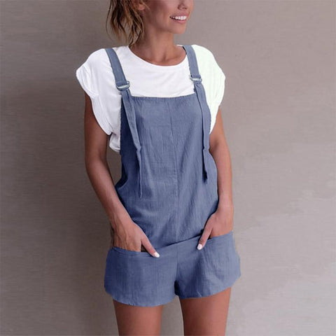 Vintage Pure Colour Shoulder Strap Short Jumpsuits