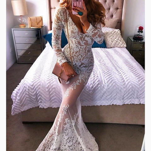 Female Sexy V Collar Lace Perspective Maxi Evening Dress