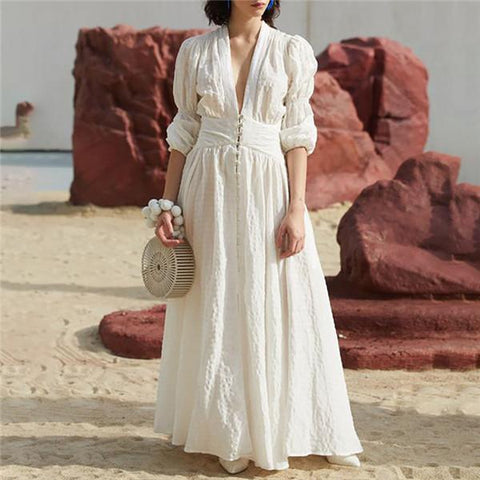 Sexy V Collar Foam Sleeve Vacation Dress