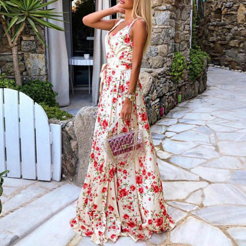 Fashion V Neck Print Sleeveless Dress