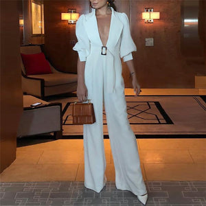 Fashion Deep V Collar Pure Color Jumpsuits