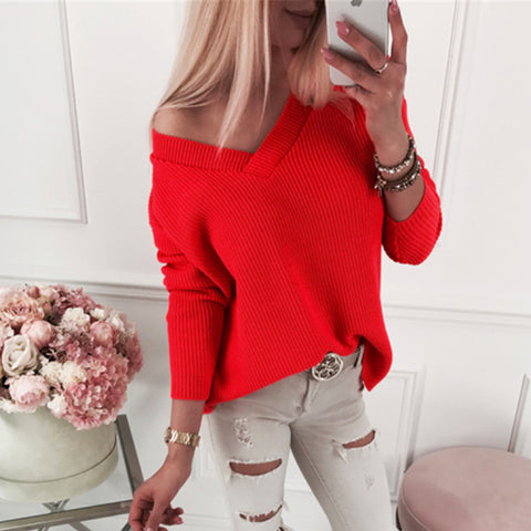 Casual V-Neck Loose Solid Color Bottoming Sweater