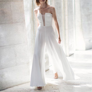 Sexy V Neck Sleeveless One Word Collar Solid Color Jumpsuit