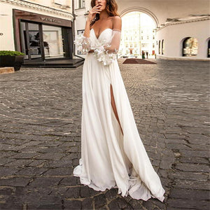 Sexy Off-The-Shoulder Mesh Splicing Wedding Evening Maxi Dress