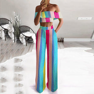 Colorblock Rainbow Striped Shoulder Set