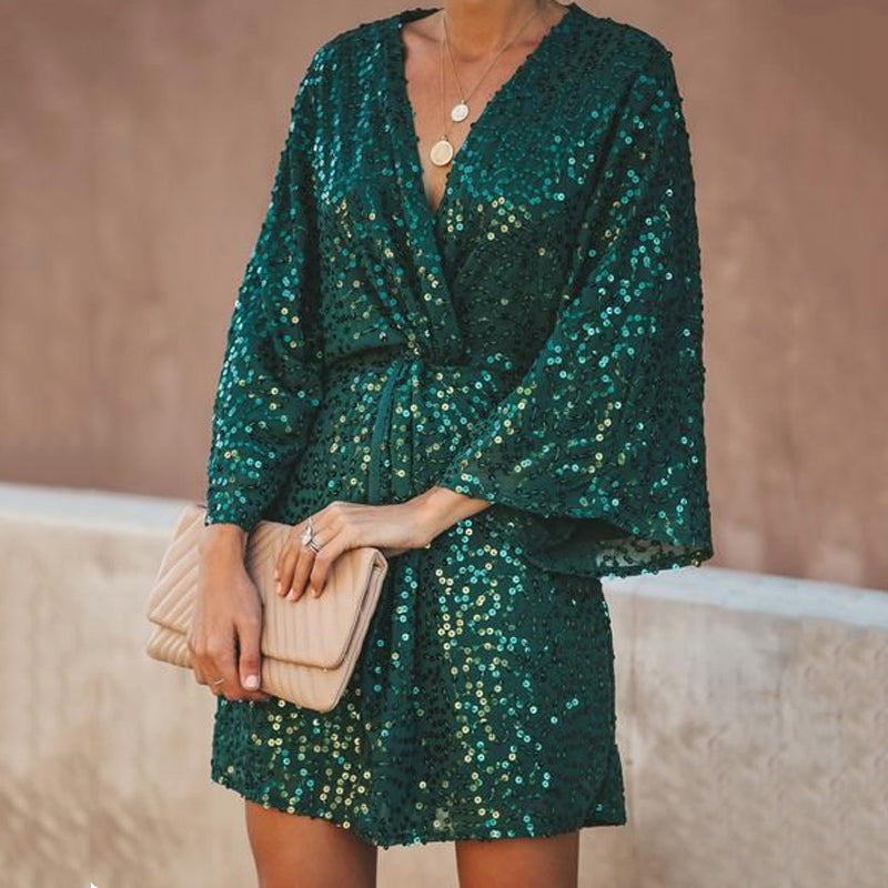 Fashion Diamante Batwing Sleeve Dress