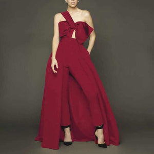 Fashion Off-Shoulder Sleeveless Pure Colour Jumpsuit