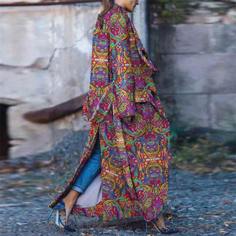 Fashion Slit Print Long Coat