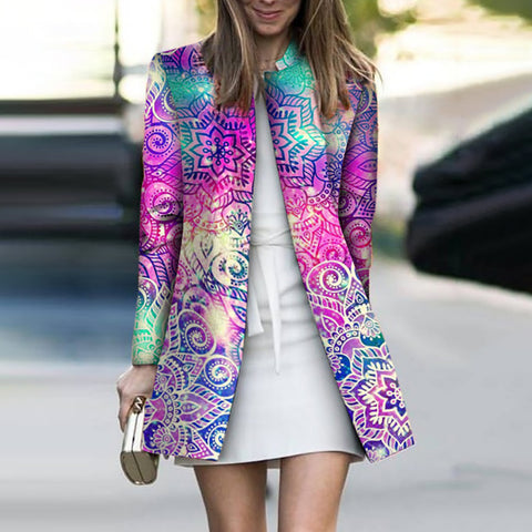 Casual Stand Collar Long Sleeve Printed Colour Jacket