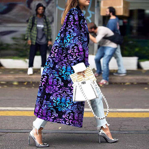 Fashion Gradient Printed Turndown Collar Long Sleeve Coat