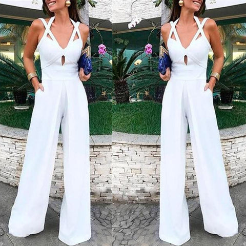 Sexy Deep V Sleeveless Solid Color Hanging Neck Trousers