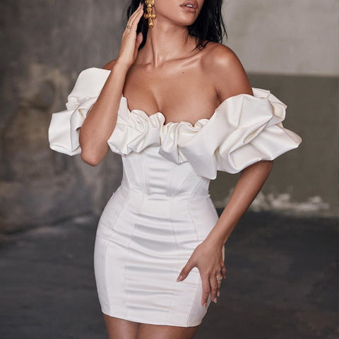 Sexy white boat neck ruffled short sleeves evening dress
