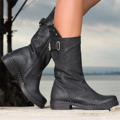 Women's comfortable low heel tube boots