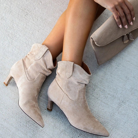 Fashion pure color pointed toes ankle boots
