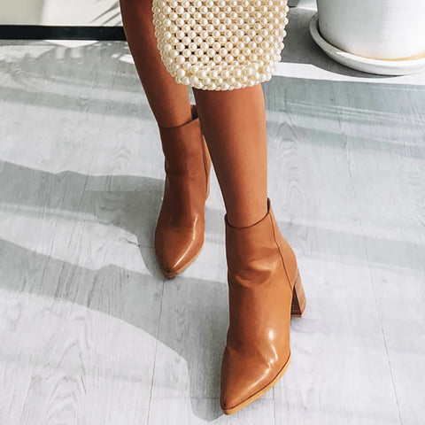 Fashion high-heeled pointed low boots women's boots