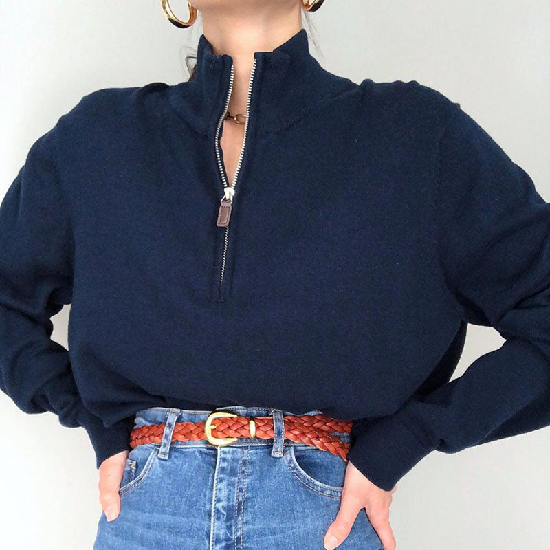 Women's casual stand collar long sleeve sweatershirt