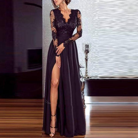 Casual Long Sleeve Lace Inwrought Splicing Slit Maxi Dresses