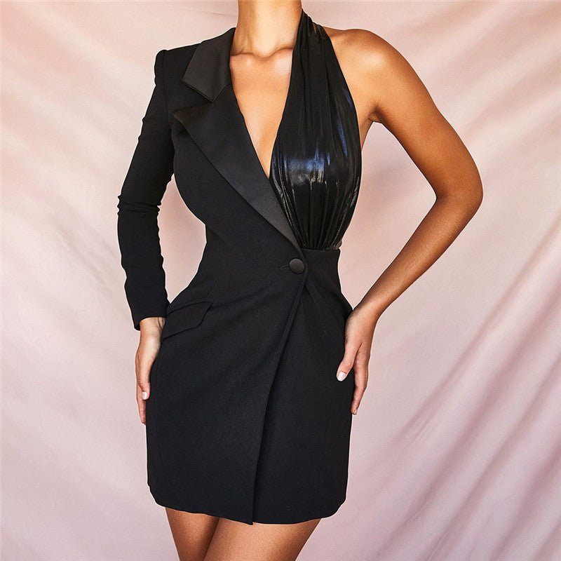 Women's solid color one-shoulder sleeve sexy slim irregular blazer